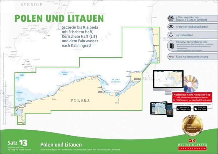 Polen Karte 2019.Sportbootkarten Satz 13 Polen Und Litauen Ausgabe 2018 2019