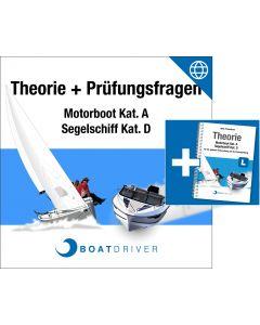 Lizenzkarte | BoatDriver - Theorie: Motorboot Kat. A / Segelschiff Kat. D + Buch (d)