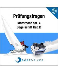 C.d.Lic | BoatDriver - Questions d'examen: Bateau à moteur cat. A/Bateau à voile cat. D