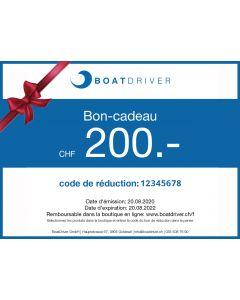 BoatDriver Bon-cadeau CHF 200.- (sera envoyé par e-mail sous 1 jour ouvrable)