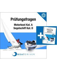 Online | BoatDriver - Prüfungsfragen: Motorboot Kat. A / Segelschiff Kat. D + Buch (d)