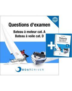 Online | BoatDriver - Questions d'examen: Bateau à moteur cat. A / Bateau à voile cat. D + Livre (f)