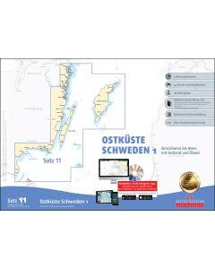 Sportbootkarten Satz 11: Ostküste Schweden 1 (Ausgabe 2019/2020)