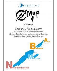 BoatDriver-Map 1 - Lac de Bienne, lac de Neuchâtel, lac de Morat, Aar jusqu'à Soleure