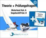 Online | BoatDriver - Theorie + Prüfungsfragen Motorboot Kat. A / Segelschiff Kat. D (dfie) + Buch (d)